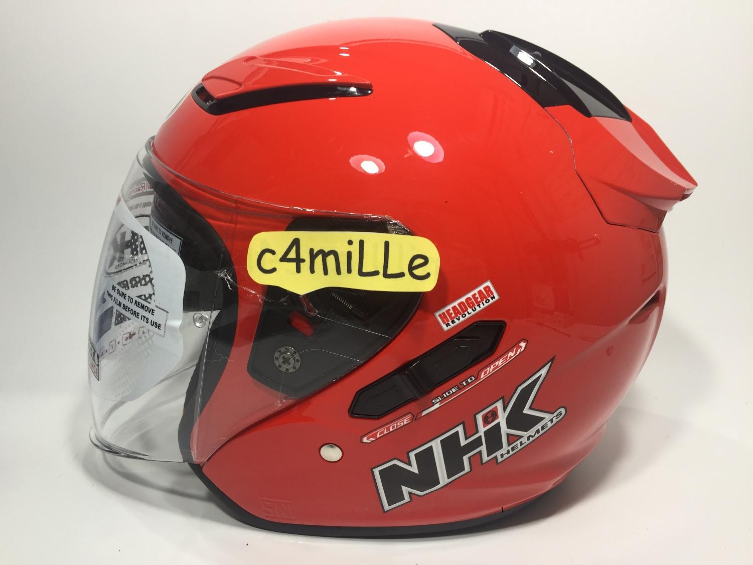 HELM NHK R1 SOLID RED DOUBLE VISOR HALF FACE SIZE M