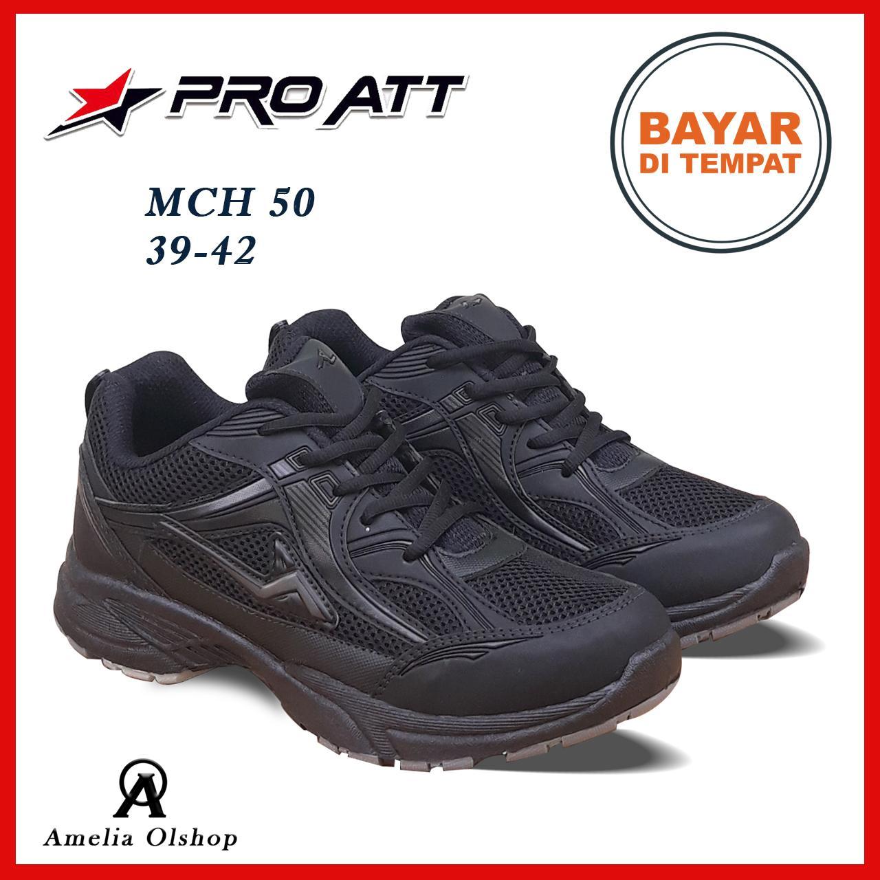 Amelia Olshop - Pro ATT Sepatu Sneaker Pria / Sepatu Pria / Sepatu Olahraga / Sepatu Sport / Sepatu Murah / Sepatu High Quality New Arrival - MCH 50 Hitam Polos