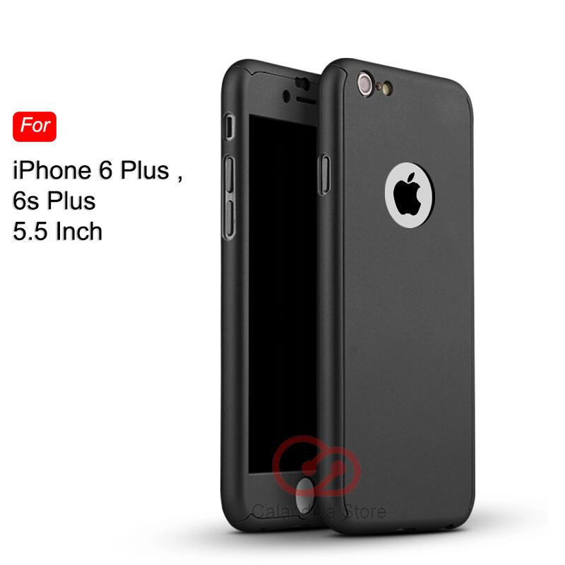 Calandiva Front Back Protection Case 360 Degree With Tempered Glass for Iphone 6 plus / 6s plus 5.5 inch – Hitam