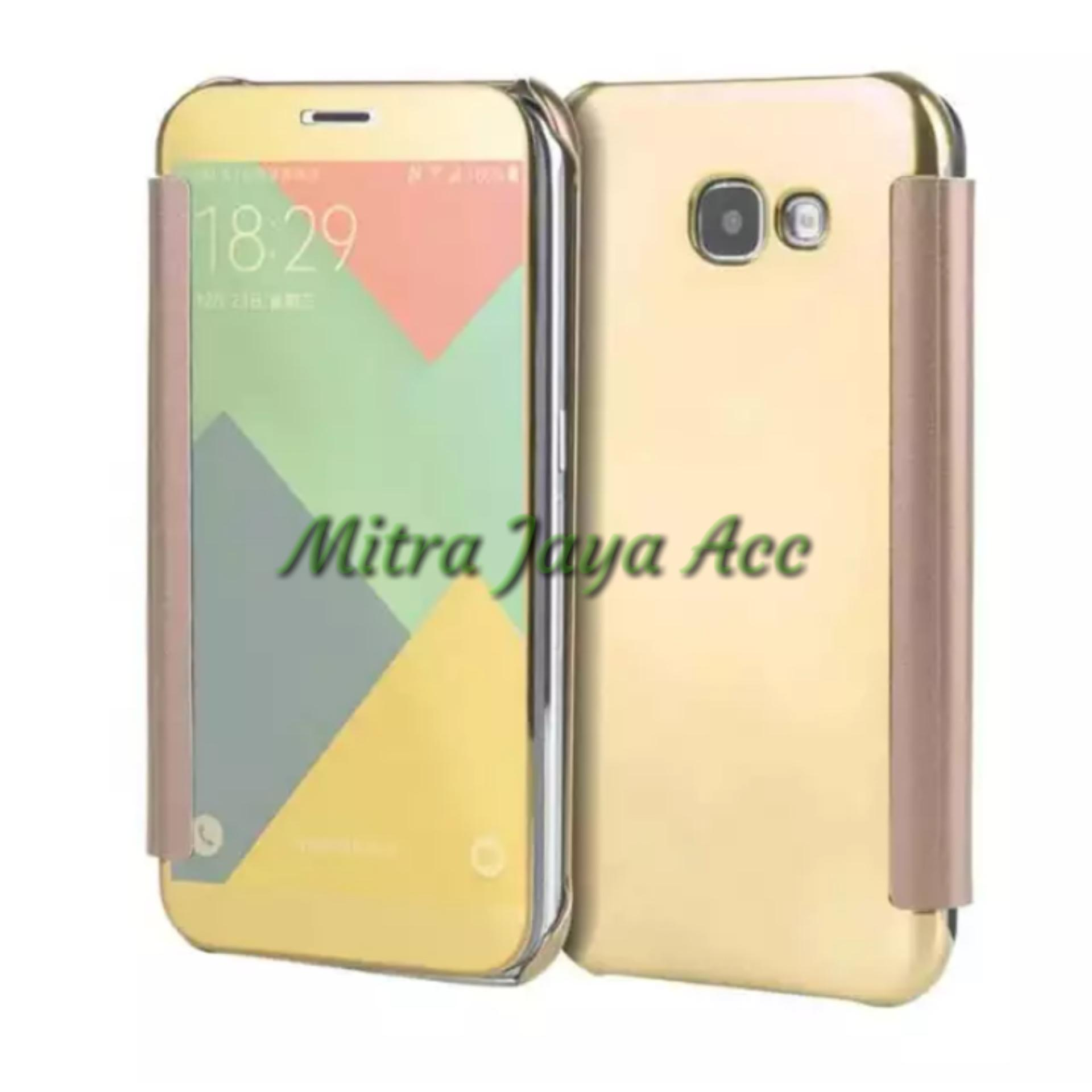 Flip Case Samsung Galaxy A7 2017 / A720 K-View Mirror Flip Cover Smart Sleep Elegant - Emas