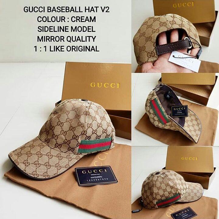 topi gucci baseball hat v2 cream sideline model mirror