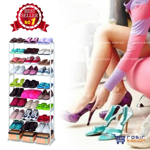 Amazing Portable Shoe Rack Rak Sepatu Portable 10 Susun - Putih
