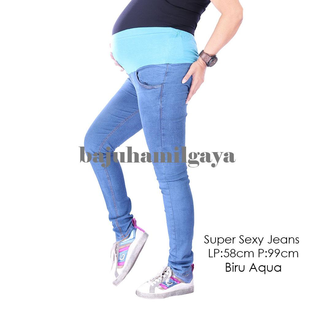 Baju Hamil Gaya Celana Hamil - SUPER SEXY JEANS BIRU AQUA - Celana Hamil Murah / Jeans Hamil / Jeans Ibu Hamil / Celana Ibu Hamil / Celana Hamil Kerja / Baju Hamil Modis / Baju Hamil Modern / Celana Ibu Hamil Kerja / Baju Hamil Murah / Wanita / Kekinian