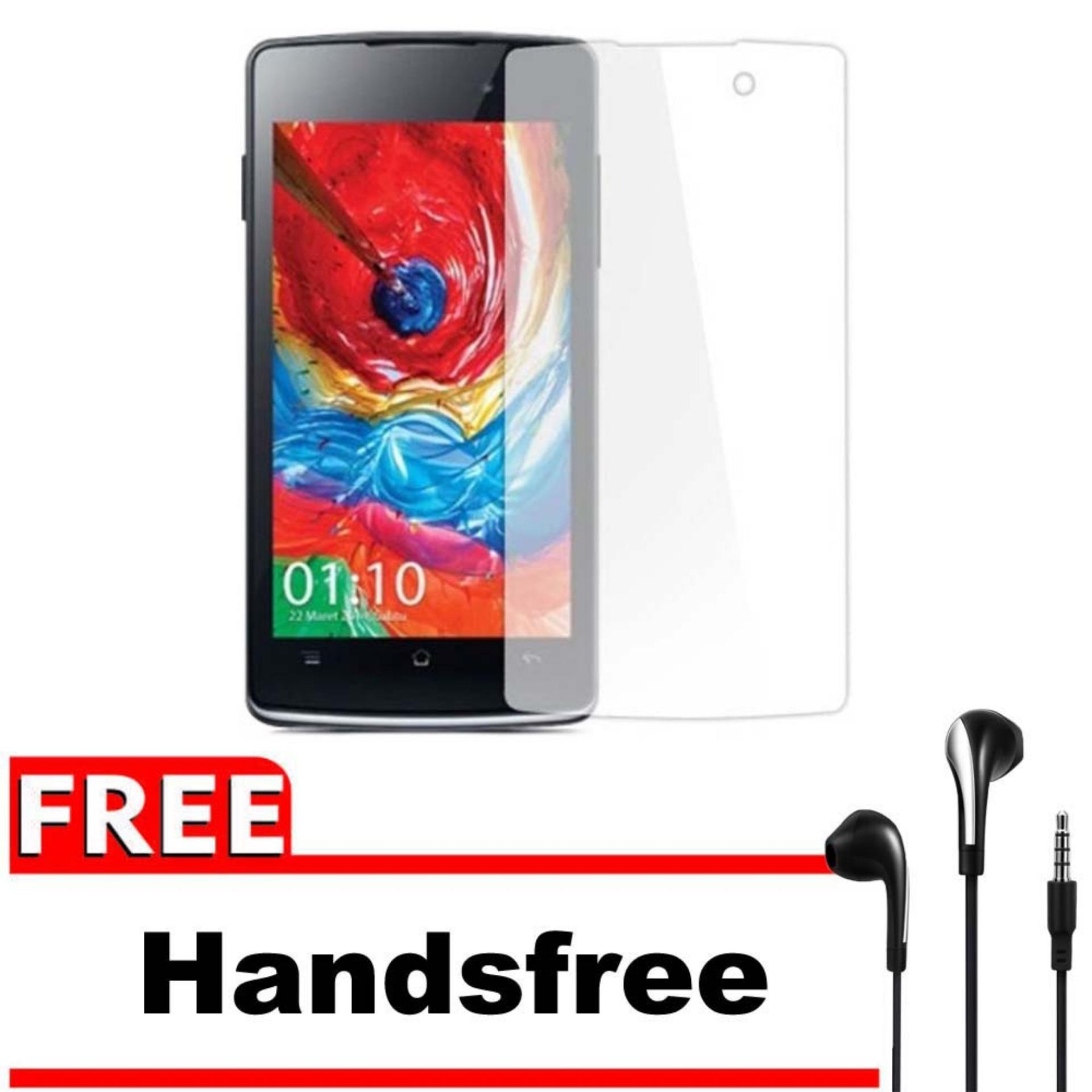 Vn Oppo Joy / R1001 Tempered Glass Screen Protector 0.32mm - Anti Crash Film + Gratis Free Handsfree Earphone Headset Universal - Bening Transparan