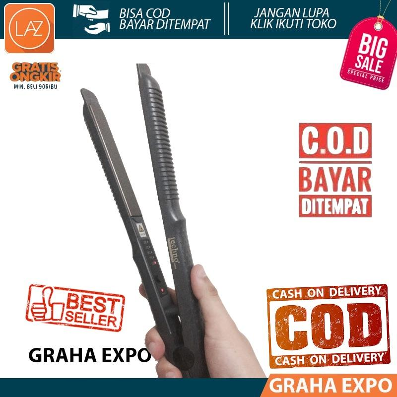 Catokan Techno 2in1 Catok Rambut Lurus Ikal Keriting Hair Straightener & Curly 2 in 1 Laz COD Graha Expo