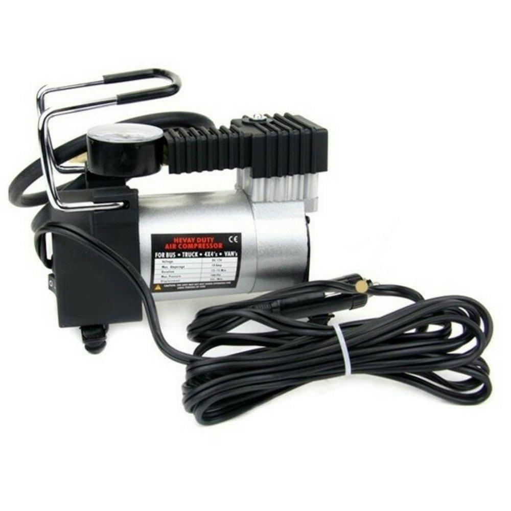 Mini Heavy Duty Pompa Ban Compressor Portable DC12V 965KPA 140Psi - Black