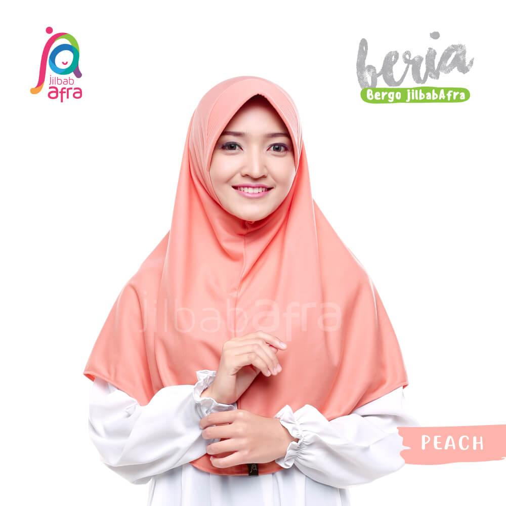 Jilbab Beria 14 Peach - Bergo Jilbab Afra - Hijab Instan Bahan Kaos, Adem &