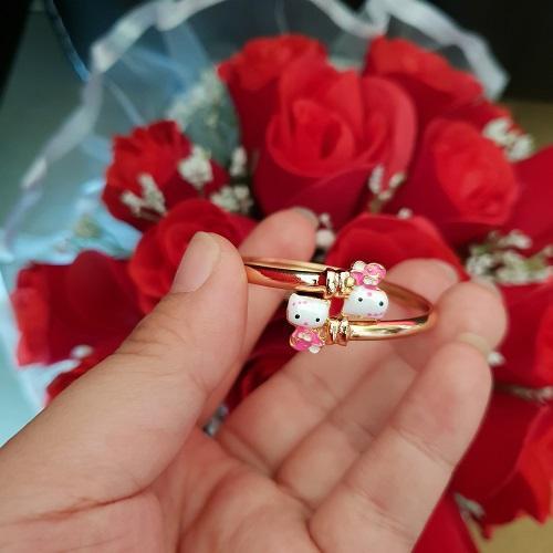 gelang kitty anak xuping gold merah pink