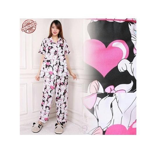 Cj collection Stelan baju tidur piyama atasan blouse kemeja dan celana panjang wanita jumbo blus long
