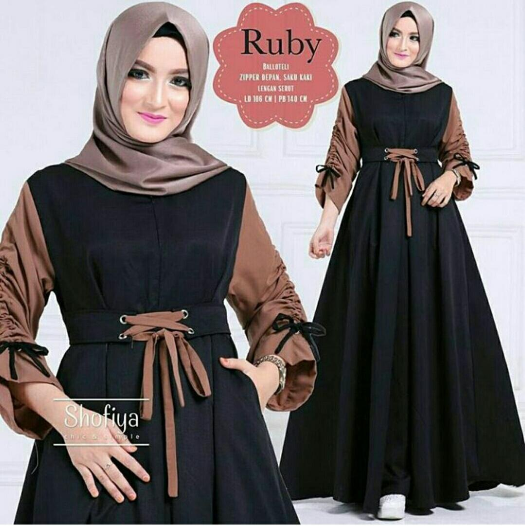 RUVAGO- DRESS WANITA GAMIS CANTIK DRESS KEKINIAN DRESS ADEM MAXI WANITA DEWASA MURAH HIGH QUALITY RUBY