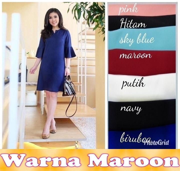 Flavia Store Blouse Lengan Pendek Bahu Sabrina Tali Kotak FS0120 - BIRU / Baju Kemeja Wanita