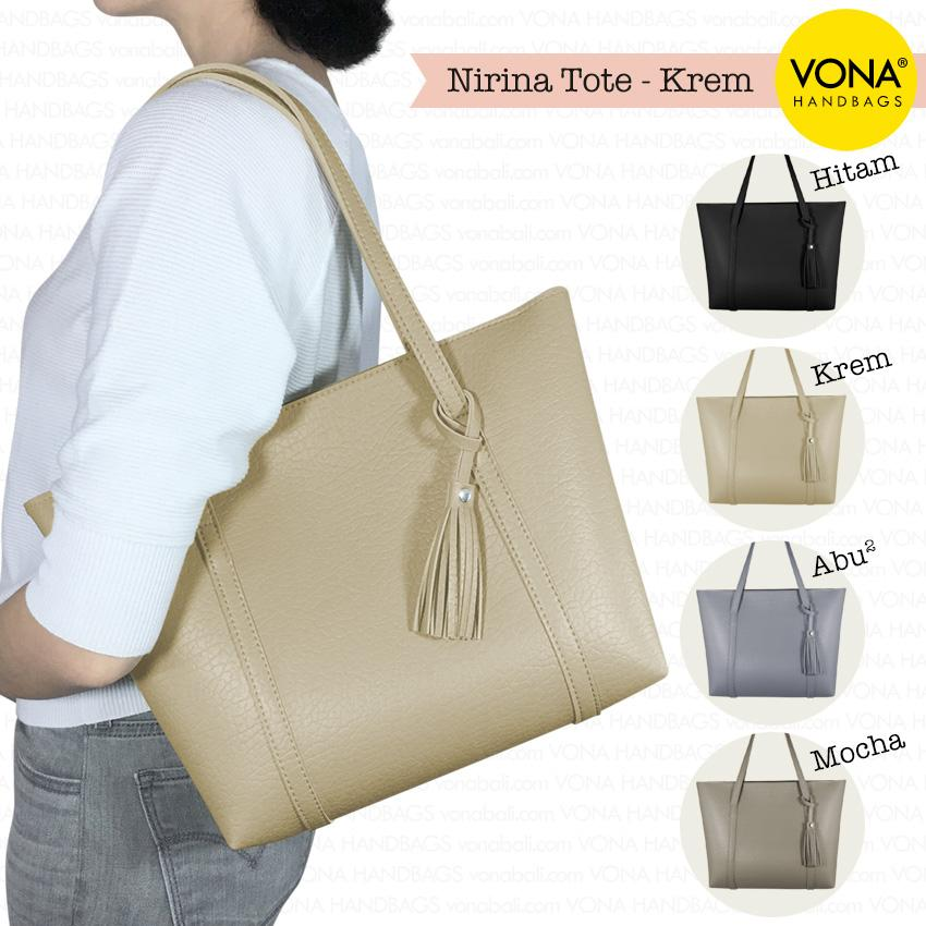 VONA Nirina - Tas Tote Bahu Wanita Tassel Rumbai Shoulder Bag Tangan Sekolah Kerja Belanja Ladies Shopping Handbag Gendong Remaja Cewek Tali Zipper Murah Korean Fashion Bali Kulit Sintetis PU Leather Best Seller New Arrival Terbaru Branded Original Asli