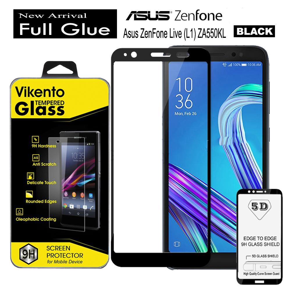 Tempered Glass For Asus Zenfone Live L1 - ZA550KL Full Glue Screen Protector - Hitam