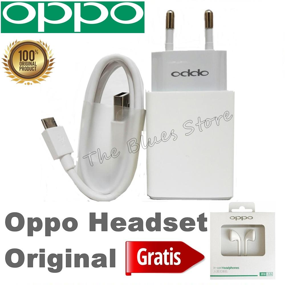 OPPO Travel Charger AK933GB 5v - 2A For OPPO A3S A83 A71 A57 A39 F5 F5 Youth F7  F7 Youth GRATIS Headset OPPO MH133 - Original