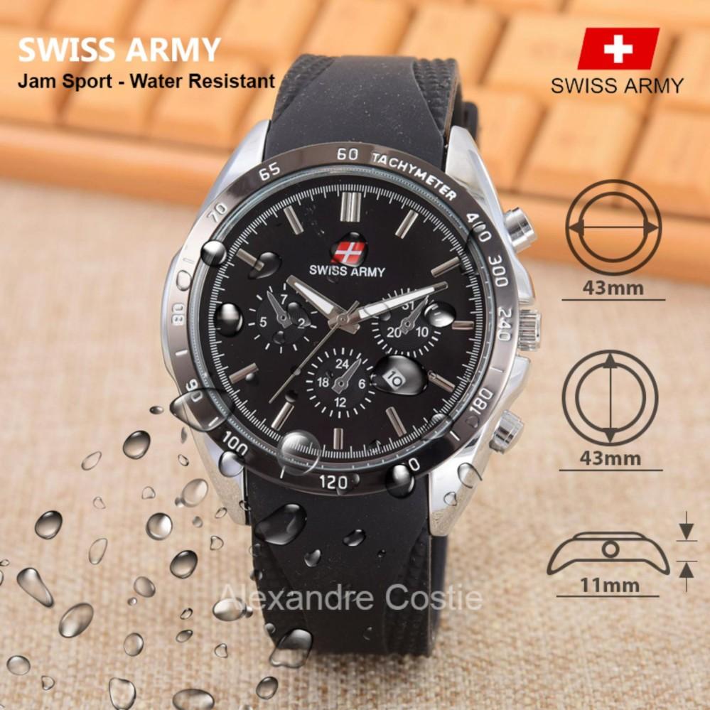 Swiss Army Jam Tangan Pria Black Rubber strap SA KRT 6251