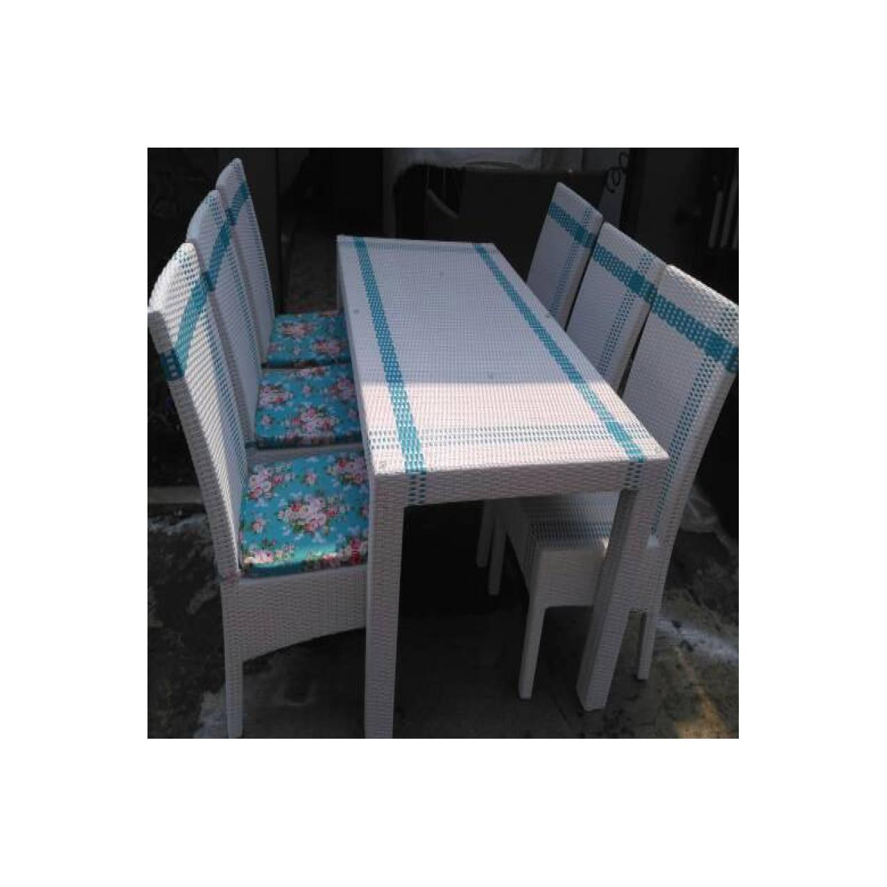 ujiSet 6 kursi meja + makan 160 x 80 cm rotan sintetis Shabby