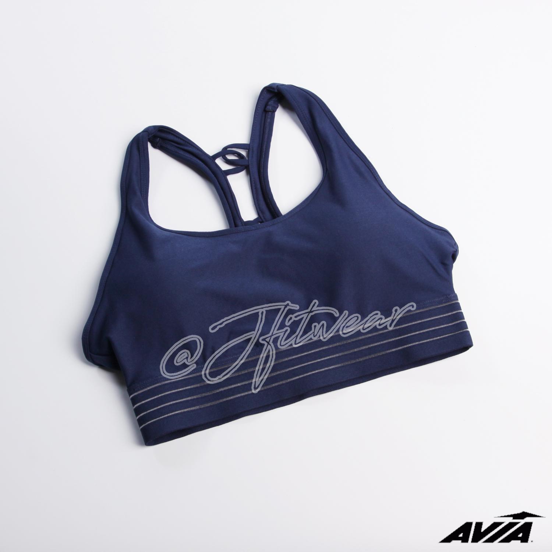 Bra Olahraga AVIA Sportbra - NavyBlue ChainedBackStrap - Baju Senam Yoga Fitness Aerobic Running Wa