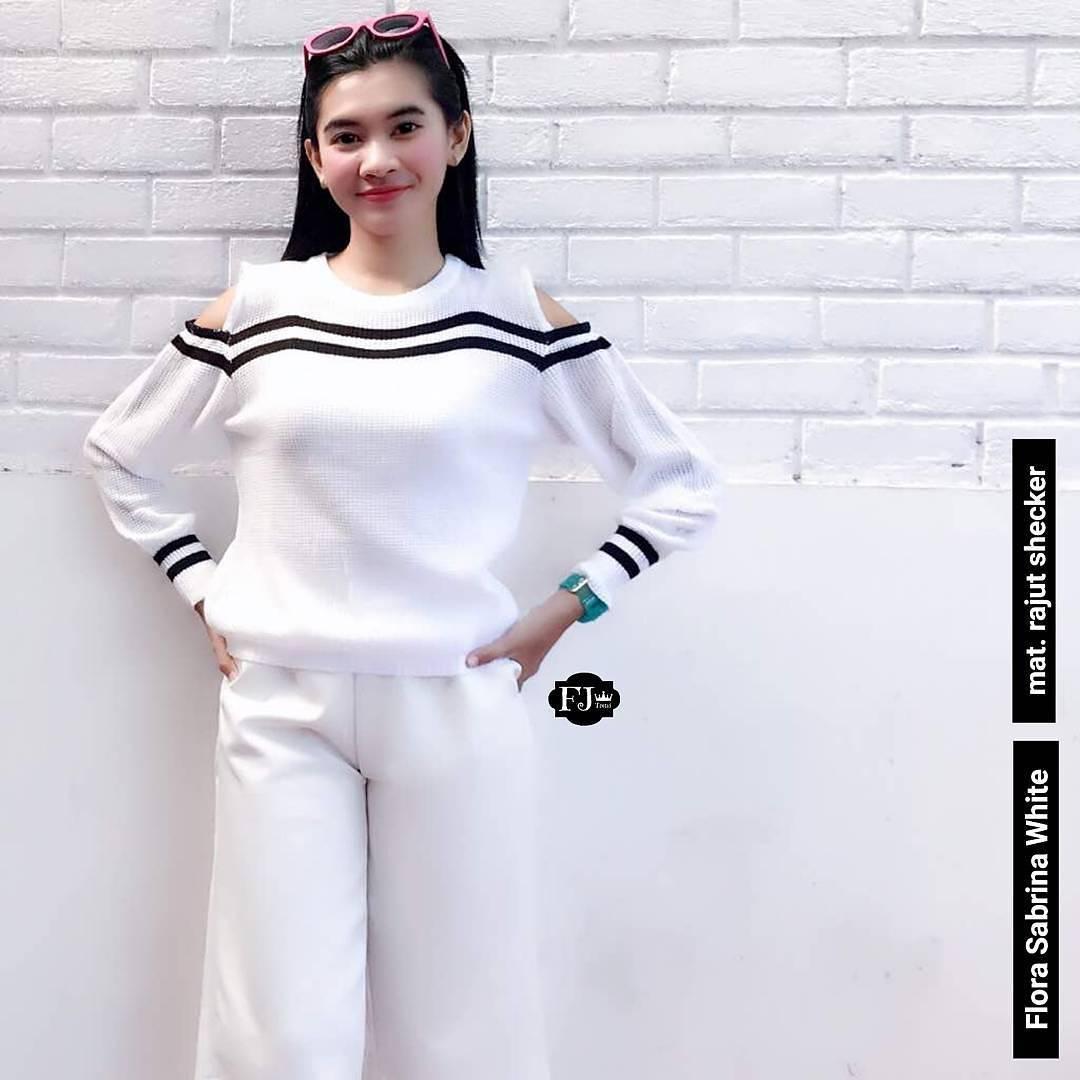Baju Original Sweater Flora Sabrina Rajut Shecker Baju Wanita Panjang Cardigan Muslim Pakaian Atasan Hangat Wanita Outer Simple Baju Musim Dingin Casual Modern Trendy