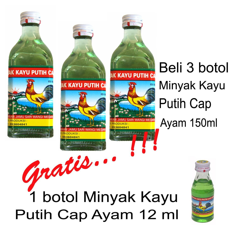Delin Store - Paket Hemat / Beli 3 Botol Minyak Kayu Putih Cap Ayam 150 ml Gratis 1 Botol Isi 12 ml