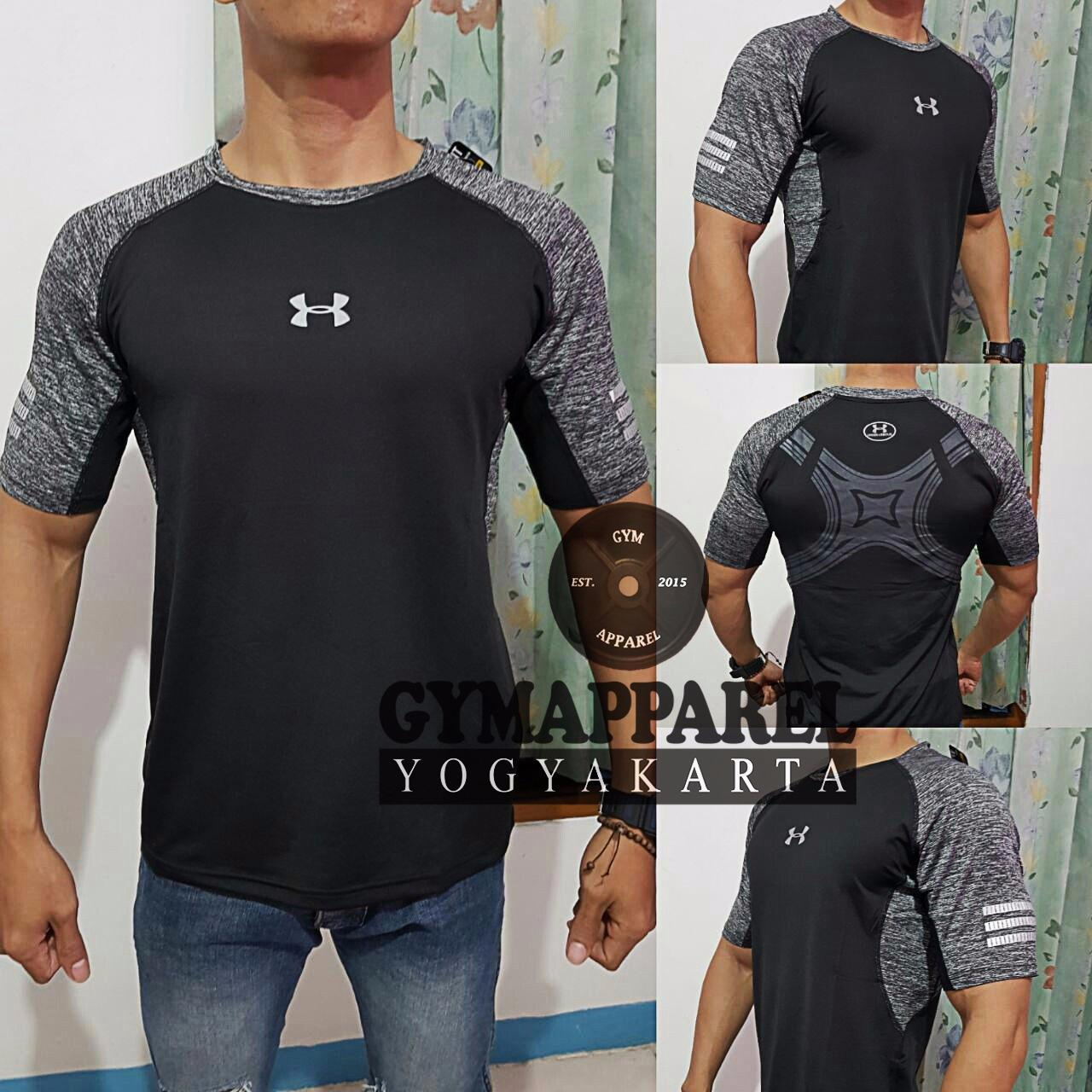 Kaos olahraga fitness under armour GRAPHIC commbine misty gym run sepeda training golf tennis dri fit