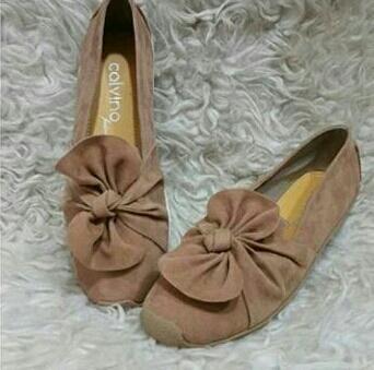 MZ sepatu wanita flat shoes bahan bludru variasi pita