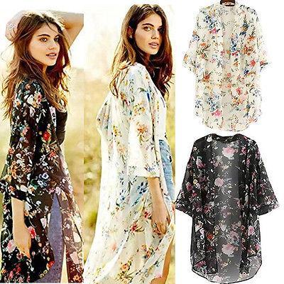 Wanita Antik BoHo Panjang Cardigan Bunga Cetak Mantel Kimono Blus Atasan Jersey Rayon Besar Gaun
