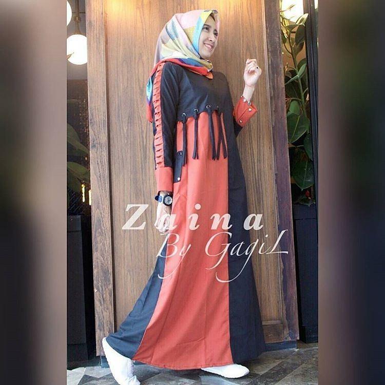 OEM  Baju Original Zaina Maxi Dress Muslim Modern Panjang Hijab Fashion Perempuan Casual Gamis Pakaian Wanita Terbaru