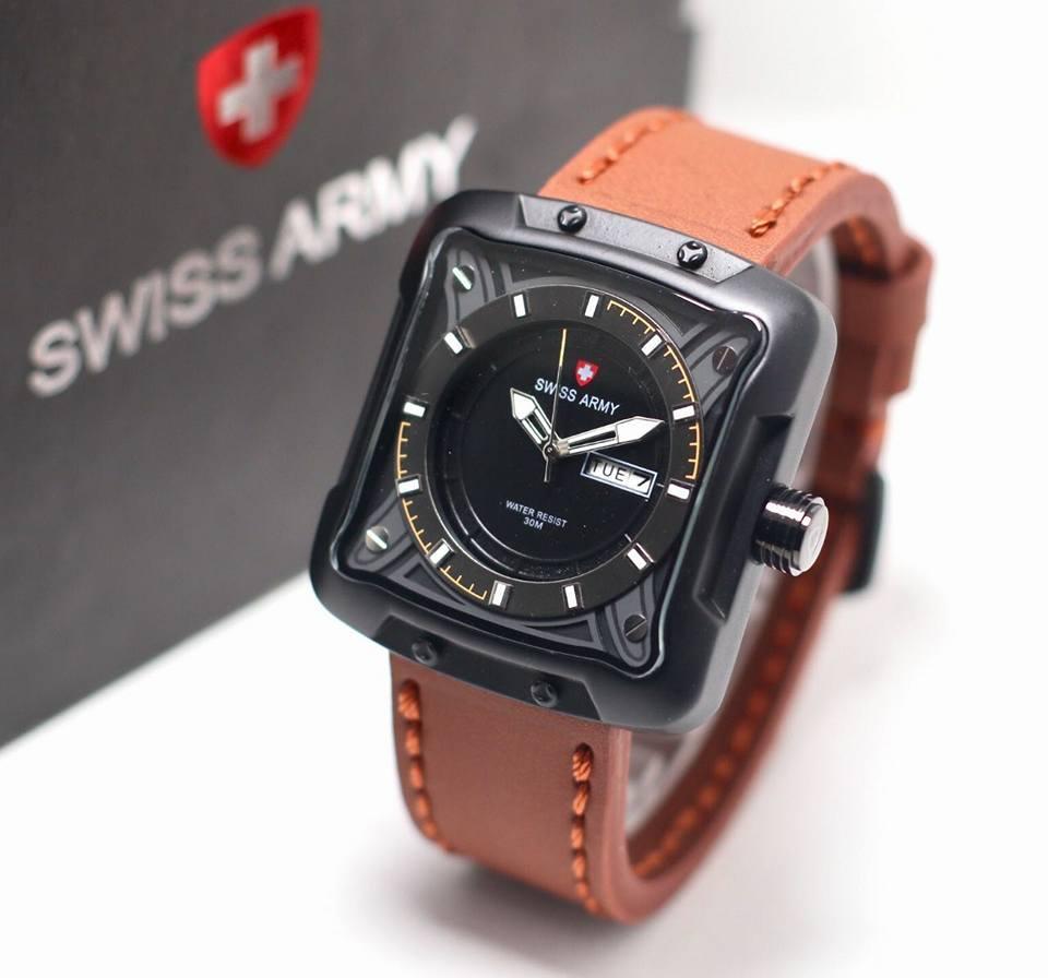 Jam tangan swiss army pria original-jam tangan pria TALI KULIT-tanggal dan hari