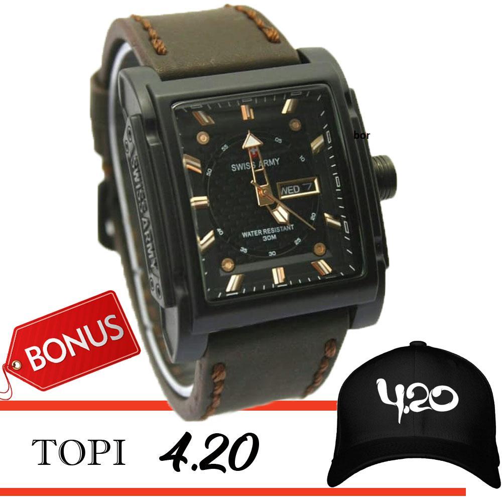 Swiss Army original SA7830 Jam Tangan Pria Darkbrown Leather Strap bonus topi 420 fourtwenty high quality