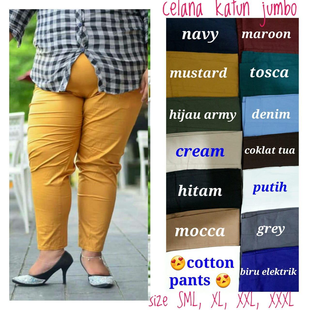 Kinbi Celana panjang wanita SUPERBIGSIZE JUMBO XXXL/muat berat 120 kg /katun stretch premium/best seller