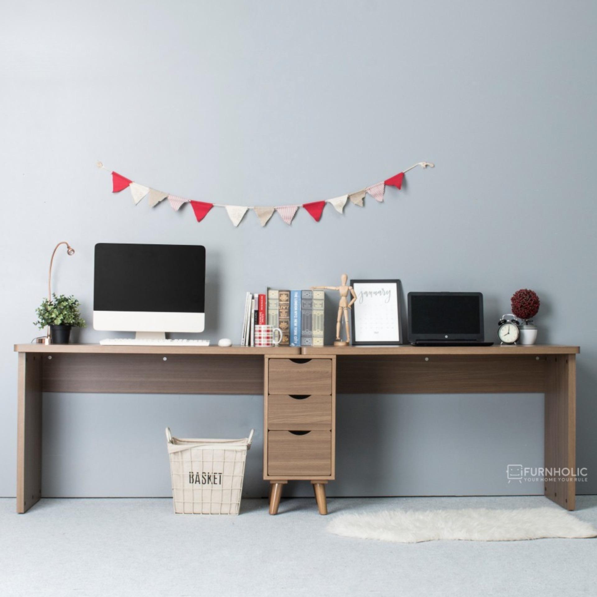 iFurnholic Thomas Smart Desk 240 Berkabinet Meja Kerja Coffee Brown Gratis Pengiriman Pulau