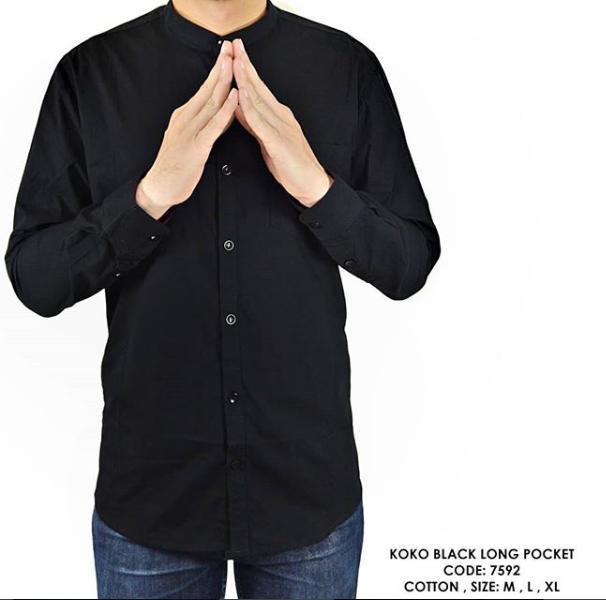 van shirt store  BAJU KEMEJA PANJANG KERAH KOKO POLOS POLOSAN HITAM COWOK PRIA  Koko Black Long Pocket
