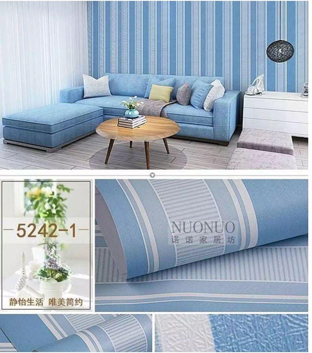 Wallpaper Stiker Dinding Motif Dan Karakter Premium Quality Size 45cm X 10M Salur Biru Baby027