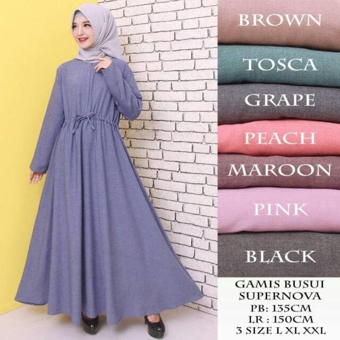 Kenzmal- Maxi Gamis Dress Baju Muslim Wanita Baju Gamis Wanita Gamis Polos Jumbo Bahan Katun Supernova