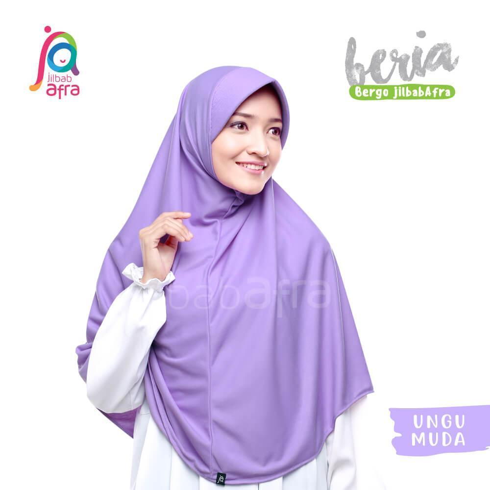 Jilbab Beria 16 Ungu Muda - Bergo Jilbab Afra - Hijab Instan Bahan Kaos, Adem