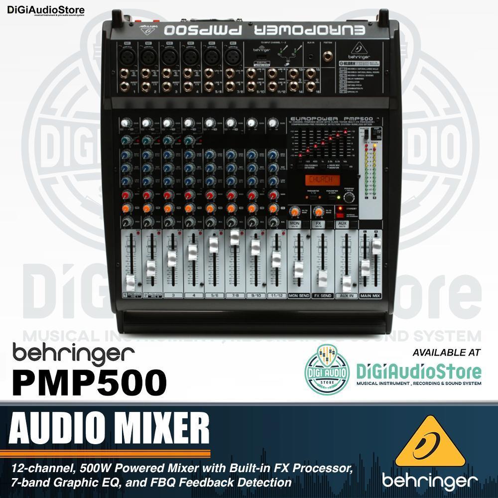 Behringer PMP500 Audio Mixer 500 Watt 12 Channel Powered - Power Amplifier Audio Mixer PMP 500