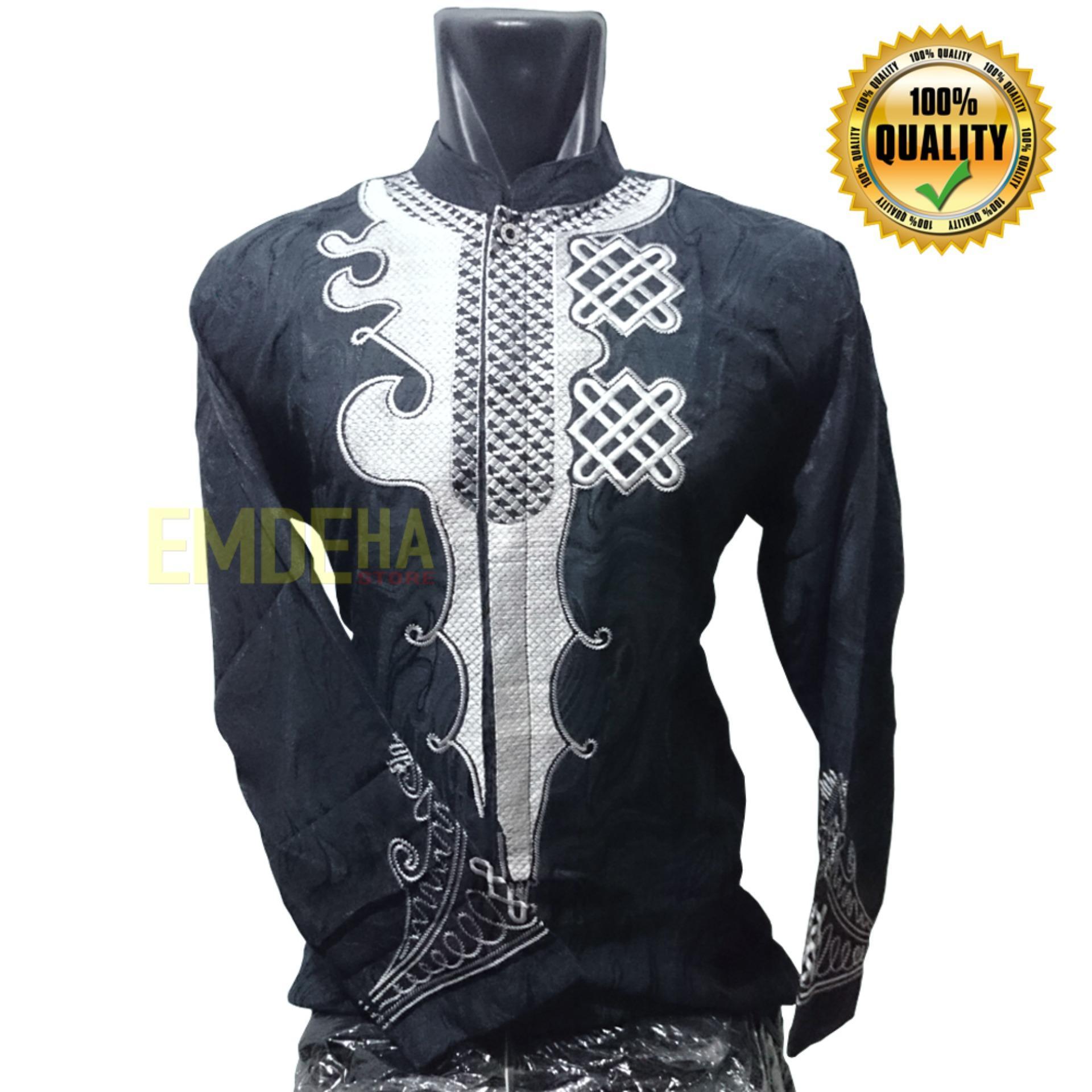 Emdeha Store - Kemeja Koko Pria Dewasa Model Black Panther Full Bordir Berkualitas
