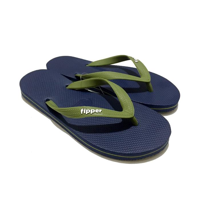Promo: Sandal Fipper Slick Navy Green Amry - ready stock