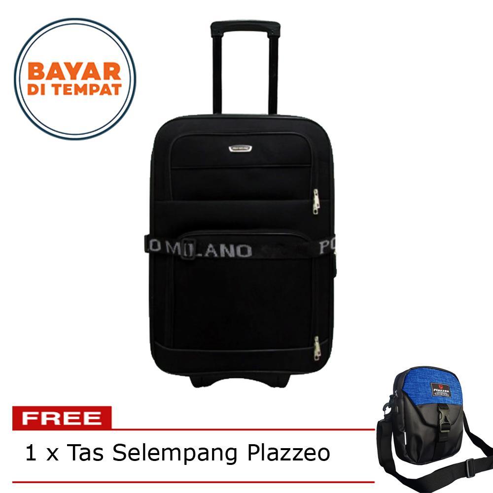 Tas Koper Kabin Polo Milano Koper Bahan Ukuran 20 Inchi 208-20 Expandable Import Original - Black + Tas Selempang Plazzeo