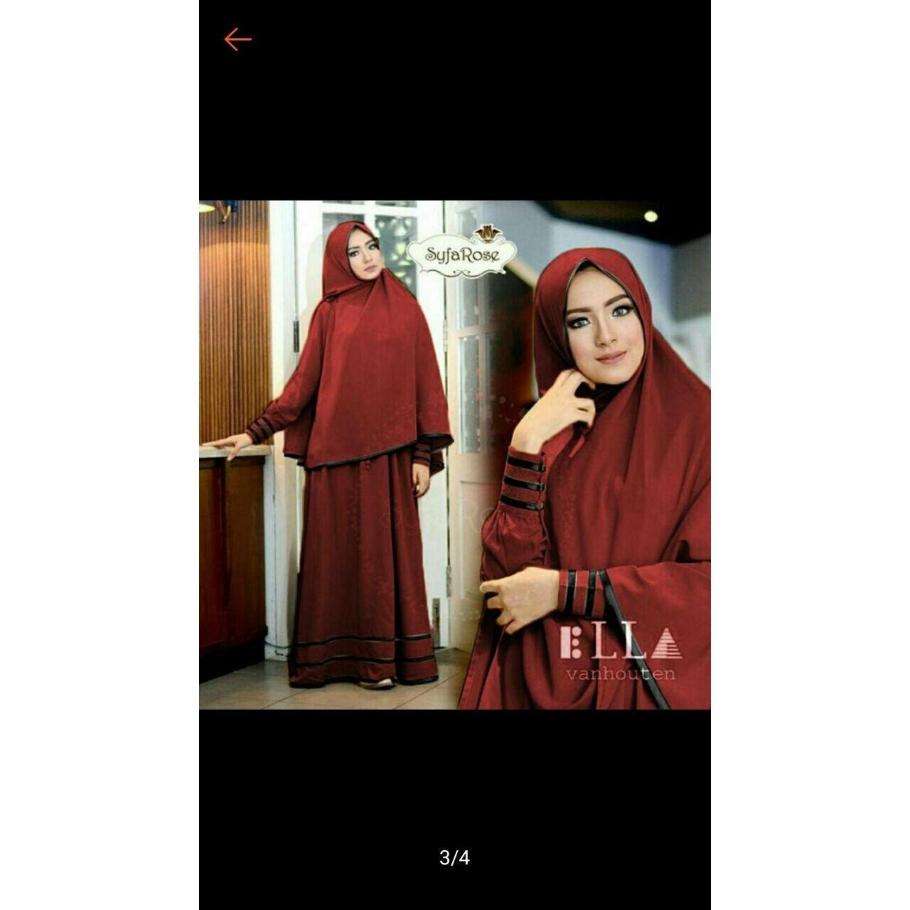 Fox-Gamis Murah Syari Hijab/Gamis set 2 in one/Baju Gamis muslimah JERSEY KOREA