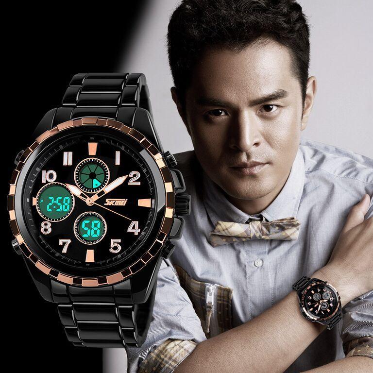 SKMEI Jam Tangan Original Sport Dual Time Water Resist 50m Pria AD1021 Stainless Steel - Black Gold