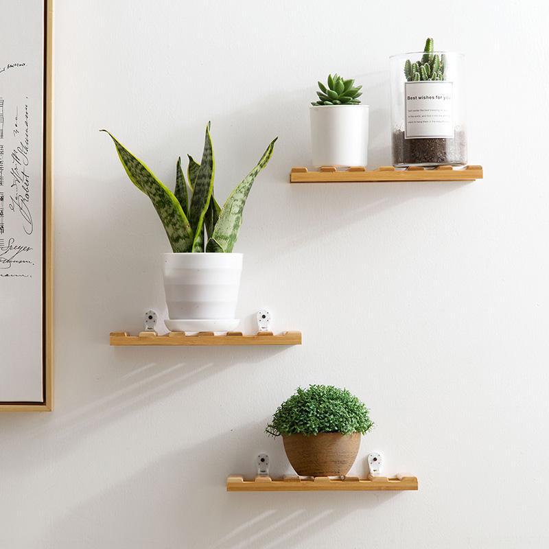 Jujiajia Terbuat dari Bambu Ruang Tamu Dekorasi Rak Gantung Pada Dinding Gantungan Dinding Kerangka Bunga Kamar