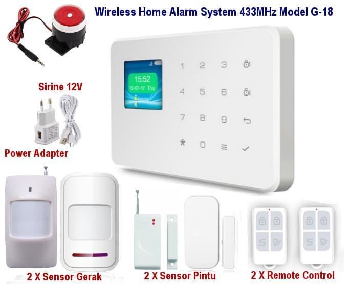 Promo Wireless GSM Alarm System Untuk Rumah Ruko Apartemen Model G18 SET02 Original