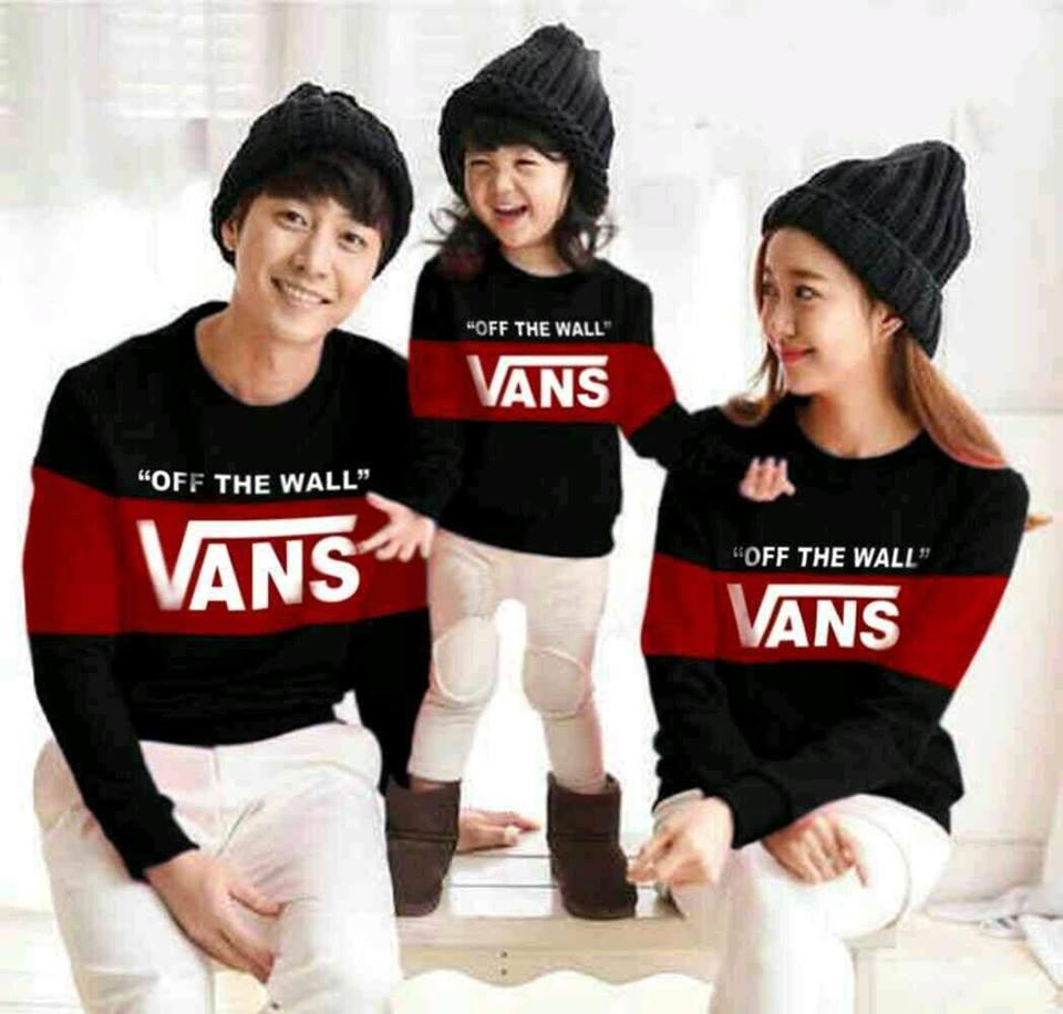 COUPLELOVER- BAJU KEMBARAN  SWEATER COUPLE FAMILY OFF THE WALL 1 ANAK  FASHION FAMILY  BAJU KELUARGA (AYAH.IBU.ANAK)