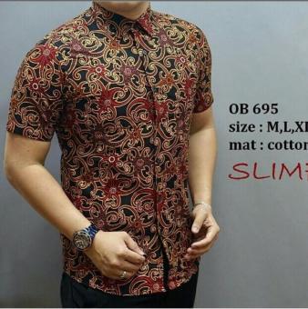 Pencari Harga Baju Kemeja batik pria lengan pendek OB 695 \kemeja batik Formal\batik