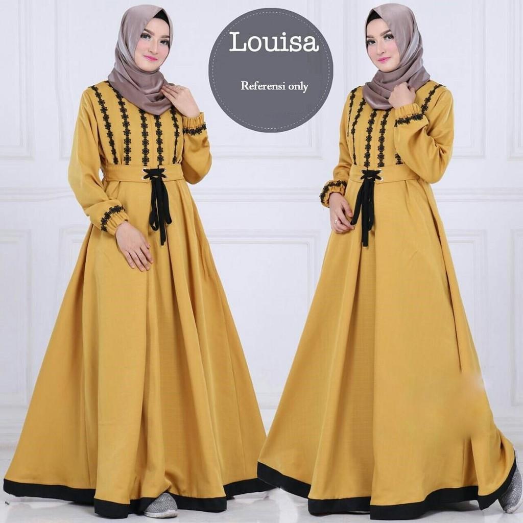 Long Dress Gaya Korea Lengan Panjang Bahan Katun Linen Motif Bunga untuk Wanita/Musim Gugur / Dress Muslim / Baju Muslim / Gamis Syari / Andam26