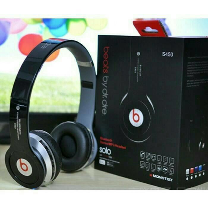 Headset Handsfree Musik Bluetooth Stereo Beats S450 fm radio micro sd