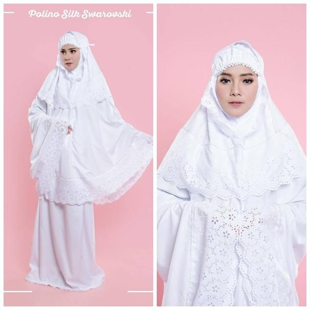 Mukena Putih Swarovski - Mukena Polino Silk Swarovski Renda Kerancang ADEM Untuk Hantaran Nikah TJA ()
