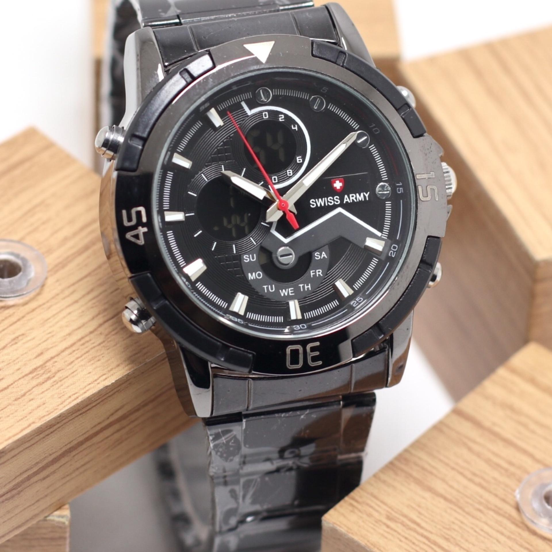 SWISS ARMY SA4327GGS DUAL TIME STAINLESS STELL LAMPU CASUAL