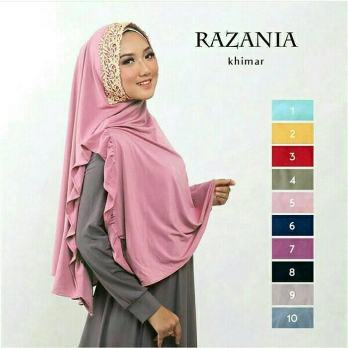 Jilbab Instant Khimar Razania bahan jersey zoya A1852